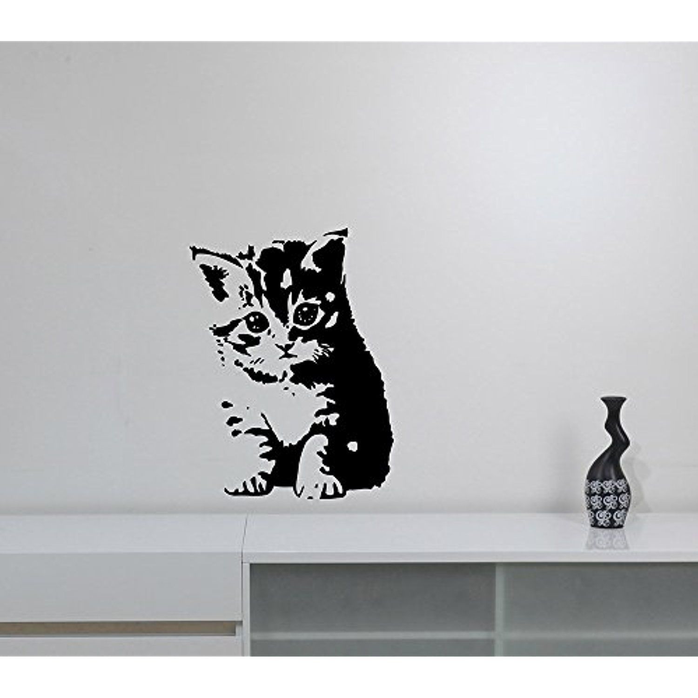 Adorable Kitten Wall Sticker Funny Cat Decal Cute Animal Vinyl Art