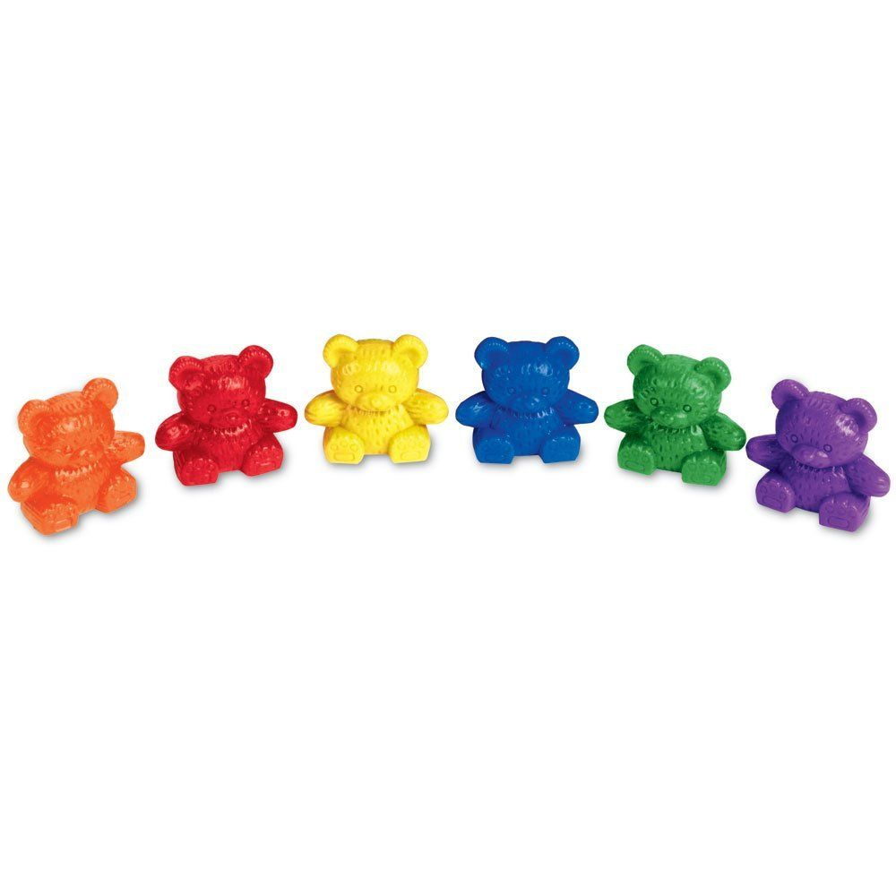 60 Rainbow Counting Bears with 6 Color Matching Sorting Cups Set ...