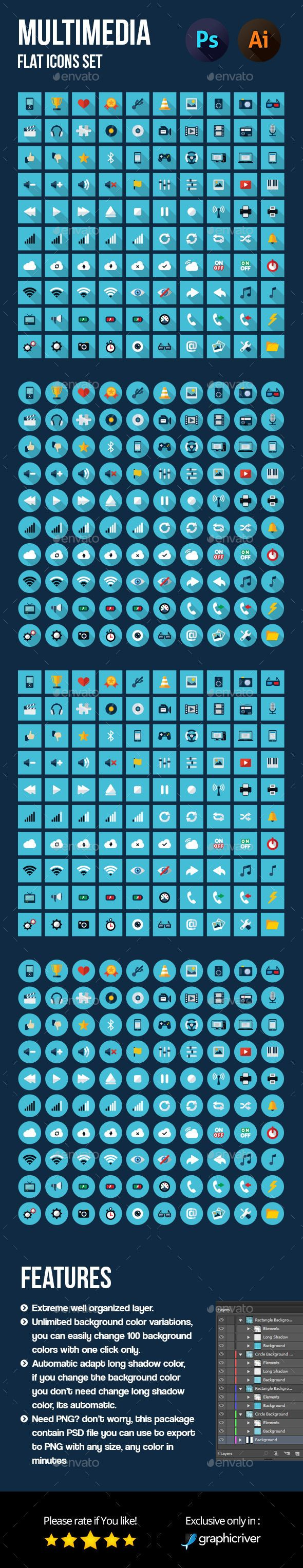 Multimedia Flat Icons Set — Photoshop PSD #web #multimedia • Available here → https://graphicriver.net/item/multimedia-flat-icons-set/12616848?ref=pxcr