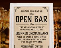 Wedding open bar sign. Rustic wedding decor. Wedding reception. Kraft paper printable wedding bar decorations. 16x20, 8x10, 5x7 prints