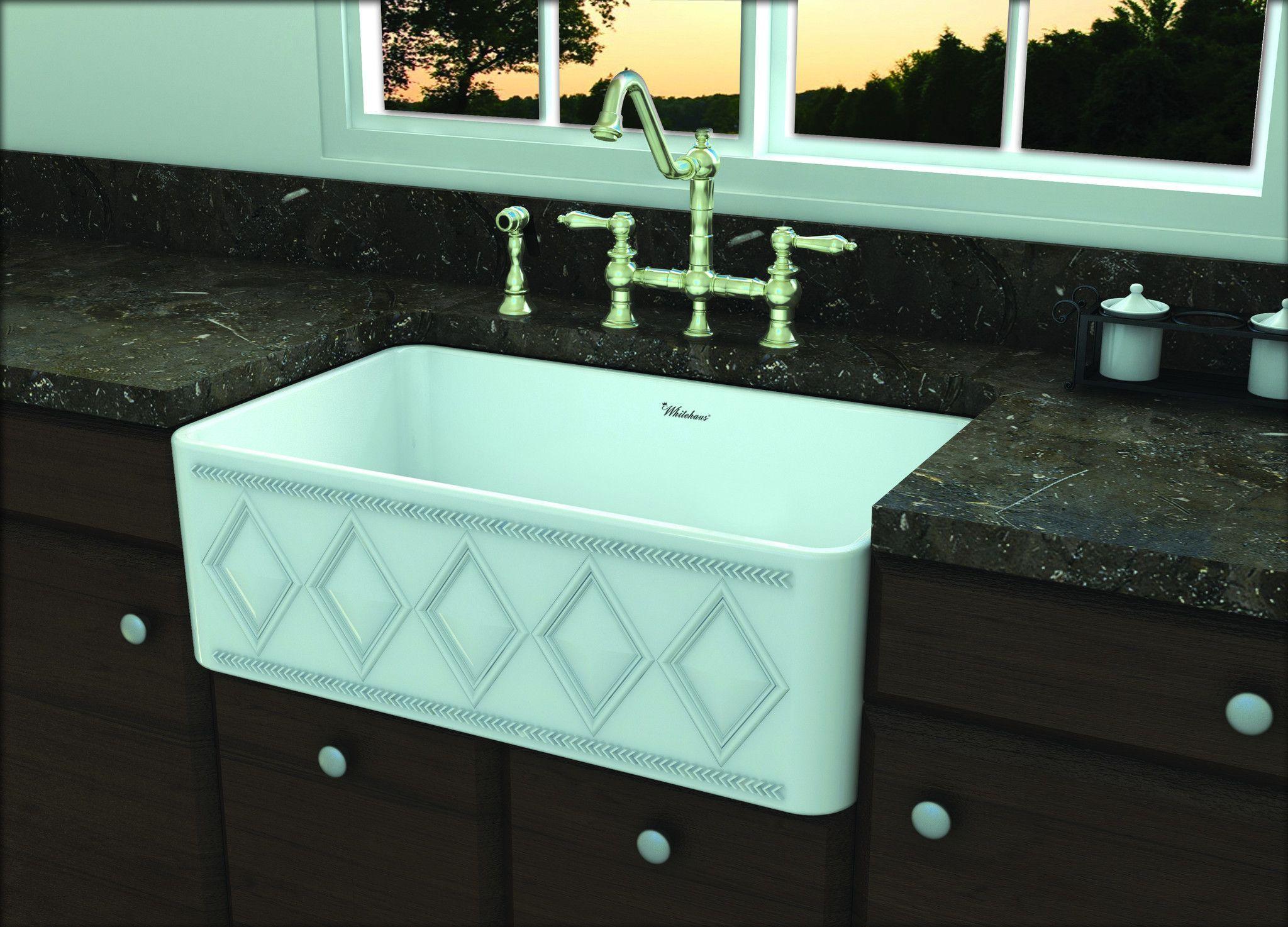 Whitehaus Diamondhaus Reversible Series fireclay sink -White ...