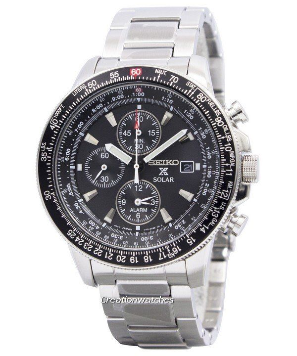 09fcd30c2bf214 Seiko Pilot s Solar Alarm Chronograph Flightmaster SSC009 SSC009P1 SSC009P  Men s Watch