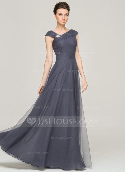 d758206f87b0 A-Line/Princess V-neck Floor-Length Ruffle Beading Sequins Zipper Up Cap  Straps Sleeveless No Other Colors General Plus Tulle Mother of the Bride  Dress