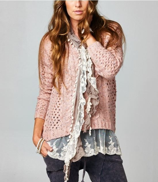 New Slouchy Pink Rose Bohemian Stretch Cream Lace Tunic Lounge ...