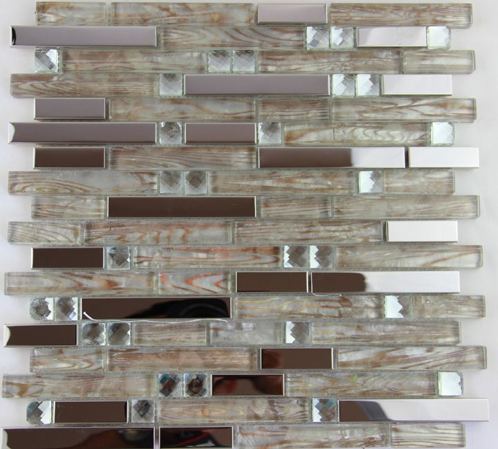 free shipping silver metal crystal glass mosaic tile stainless steel decor kitchen room shower hotel spa