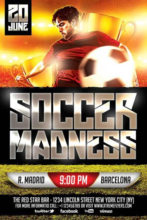 Soccer Game Free PSD Flyer Template - http://freepsdflyer.com/soccer ...