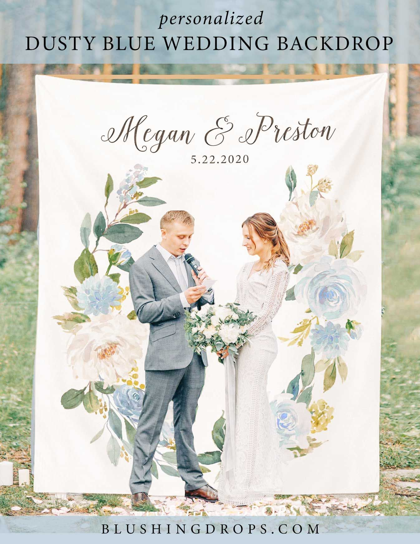 Wedding Backdrop for Ceremony, Dusty Blue Wedding Backdrop, Summer Photo Booth Backdrop, Wedding Photo Backdrop, Floral Backdrop Blue #backdropsforphotographs
