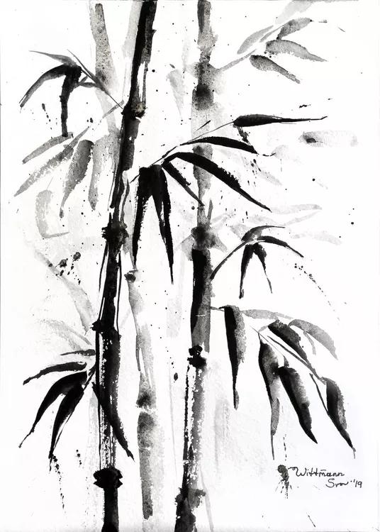 Bamboo Trees Monochrome Black Painting