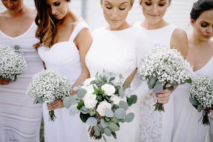 Eucalyptus Bouquet. Baby's Breathe Bouquet. White Bridesmaid Dresses. Fun and Unique Wedding Photos. Nashville Wedding Photographers. Oak Hill Farms Wedding. Fall Wedding Ideas.