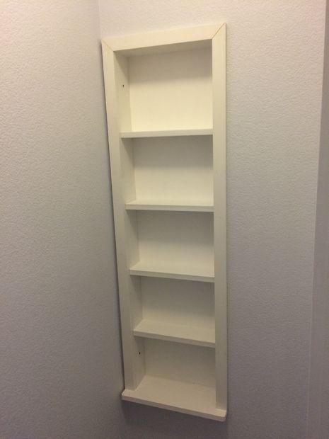 built in shelves between the studs decore pinterest shelves build shelves and bathroom. Black Bedroom Furniture Sets. Home Design Ideas