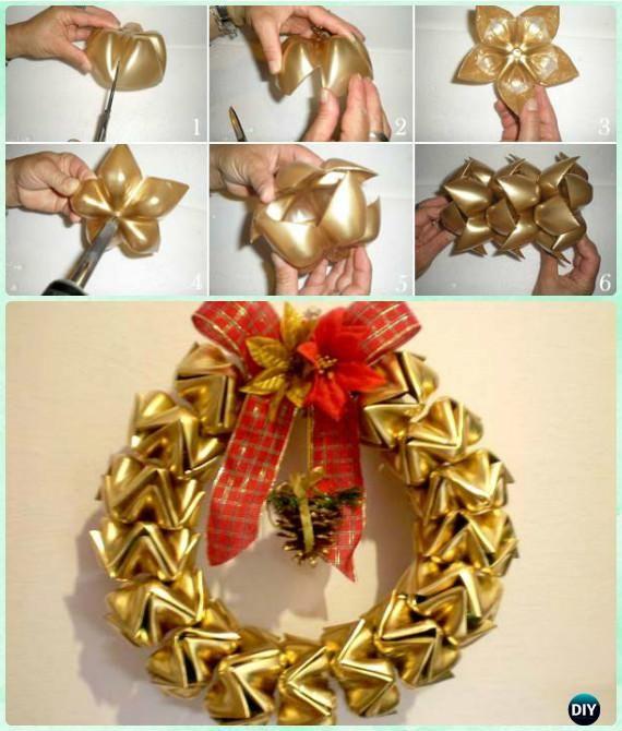 Diy christmas wreath craft ideas instructions plastic for Plastic bottle decoration ideas