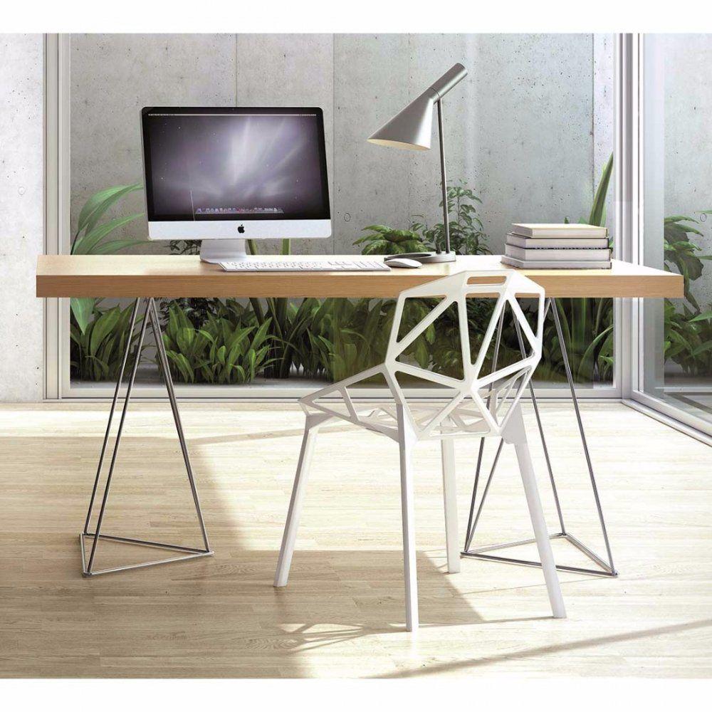 Bureau Design Trestles Chene Bureau Bois Table A Manger Design Bureau Design