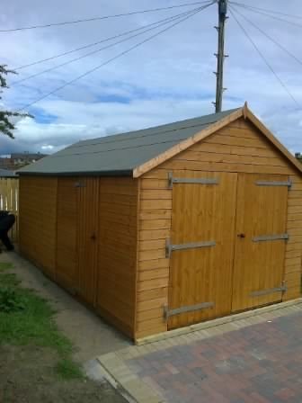 20 x 10 Apex Timber Garage with additional side pass door.