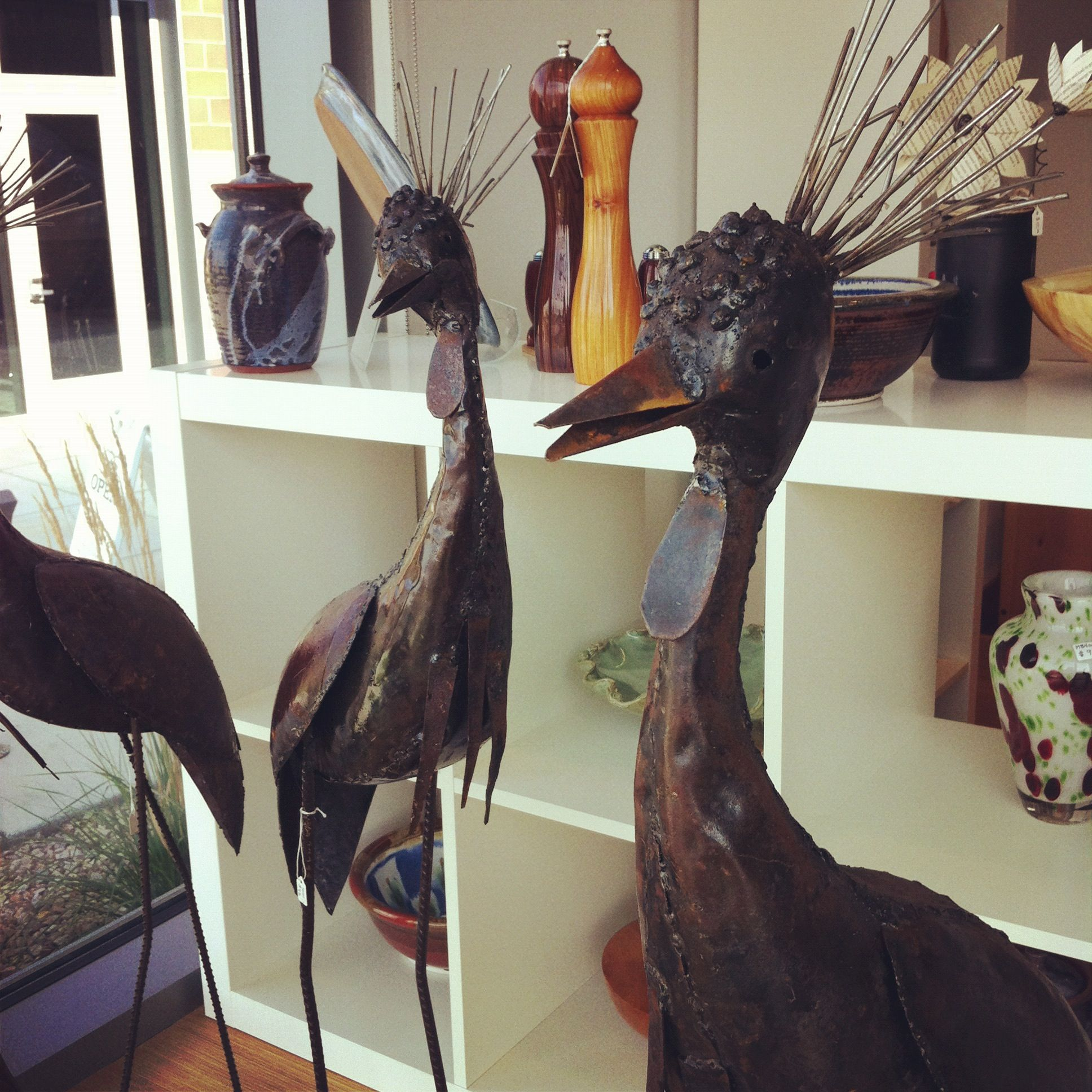 Metal sculpture from Zimbabwe, imported directly from the artists through a regional partnership with David & Carol Cross of Ellensburg WA.