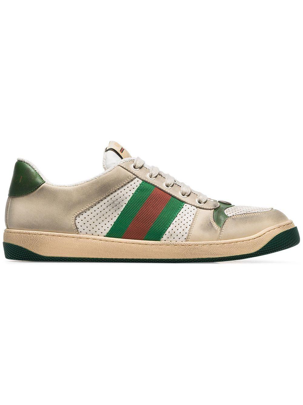 Gucci Gucci White Virtus Worn Effect Sneakers Neutrals Gucci