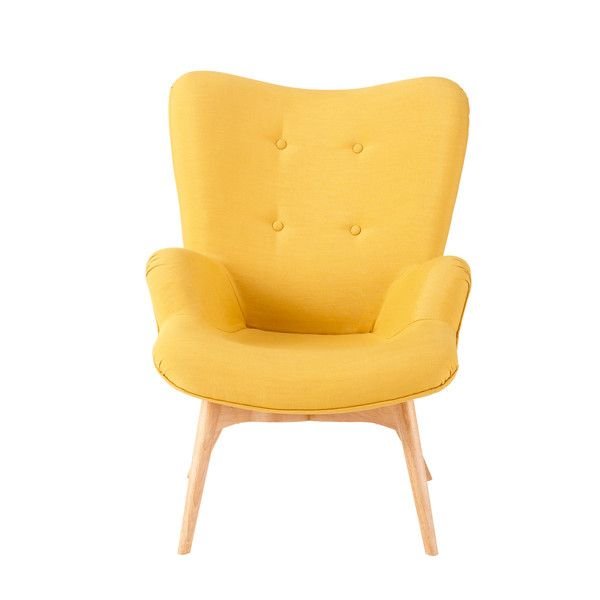 Fabric Vintage Armchair In Yellow Maisons Du Monde
