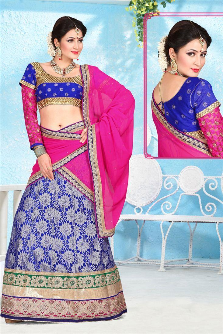 This designer lehenga choli is sure to attract everyone with its fabulous design and work. The set consist of net and jacquard lehenga, santoon inner, art silk and net choli and chiffon dupatta.