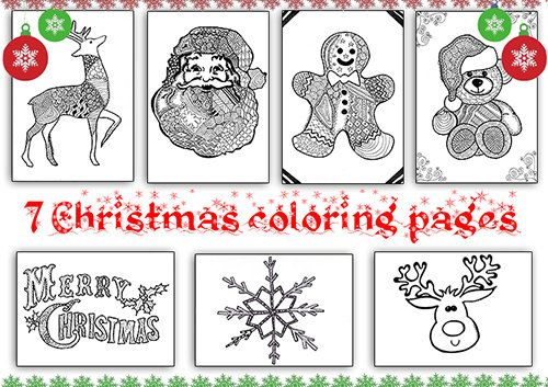 Set disegni di natale 7 pagine da colorare zentangle libro - Pagine da colorare nativo ...