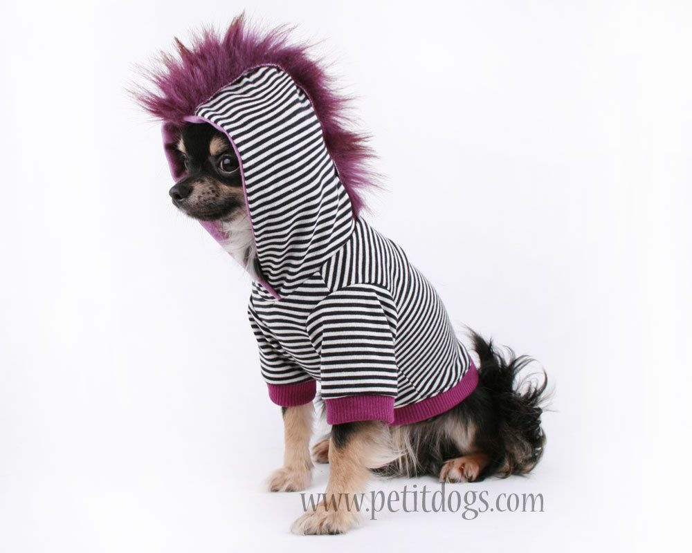 Dog clothes large purple mohawk black stripes dog hoodie for the