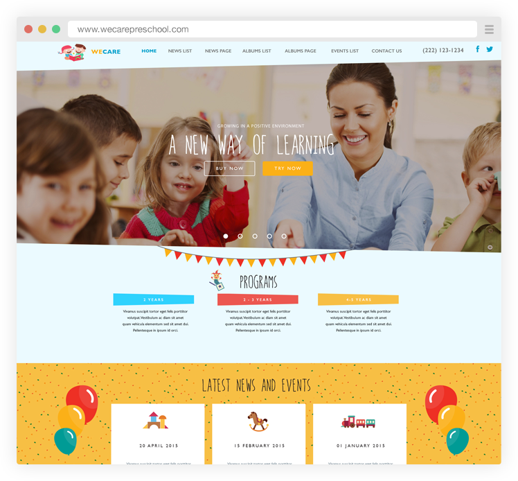 Check Out Our New Mobile Optimized And Responsive Child Care Website Template Twinkle