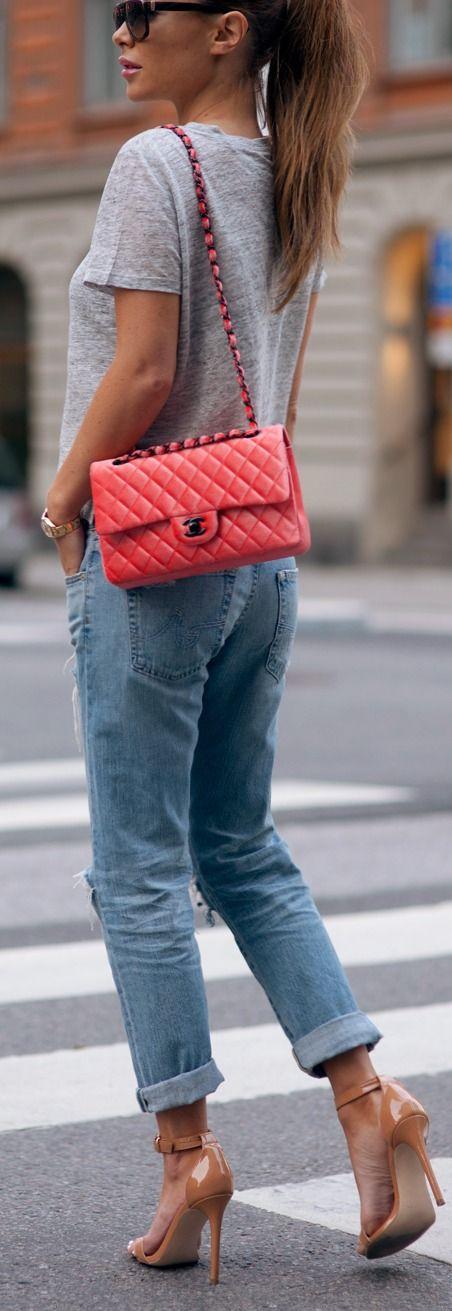 Nude heel + bright handbag.