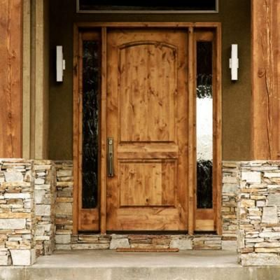 Krosswood Doors Rustic Knotty Alder 2 Panel Top Rail Arch Solid Wood Core Stainable Exterior Door Slab Beautiful Front Doors Rustic Front Door Wood Front Doors