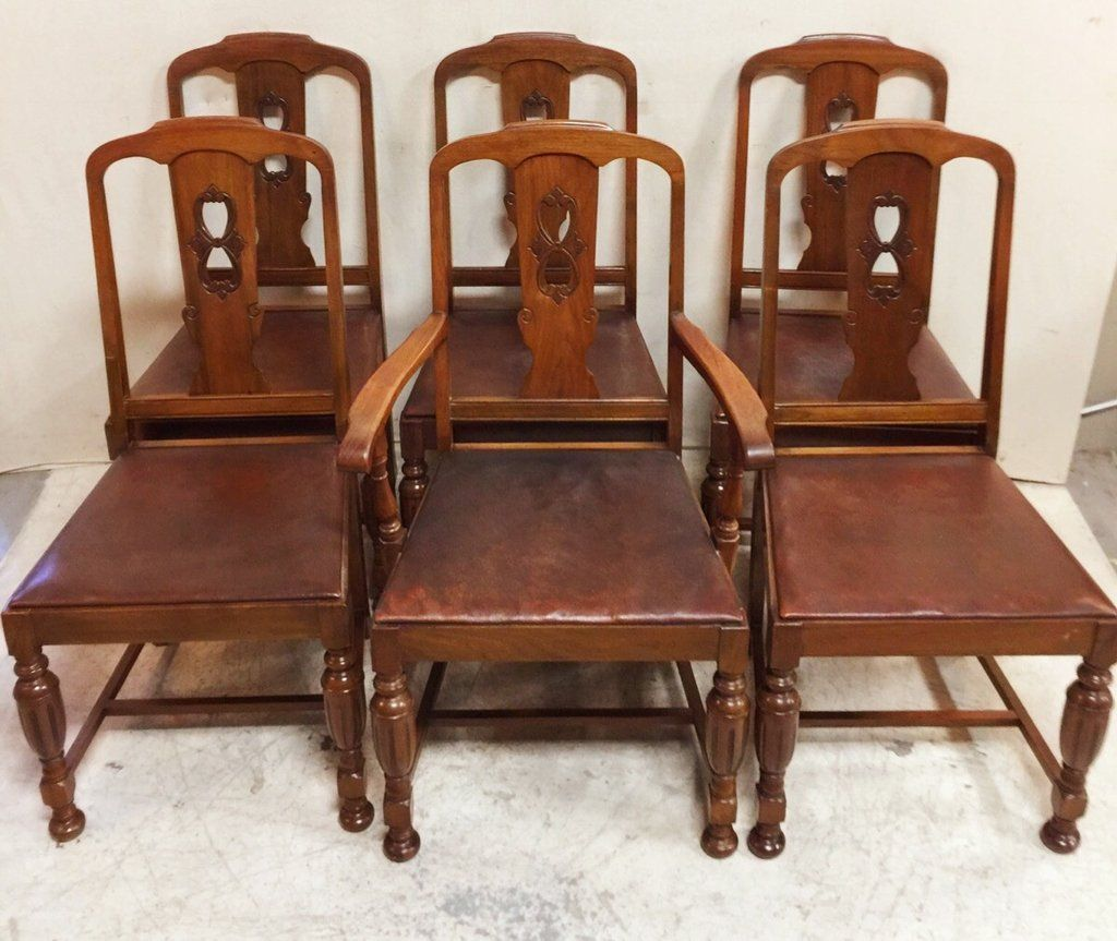 Set Of 6 Solid Walnut Gibbard Dining Chairs With Brown Leather Seats 645