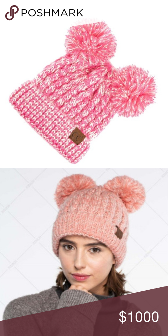 Fun CC Beanie Cap Have a fun time with the adorable cap with matching pom  poems. Teens to adults can have fun. Bubble Gum Pink 100% Acrylic Non  smoking pet ... 9f518e03981