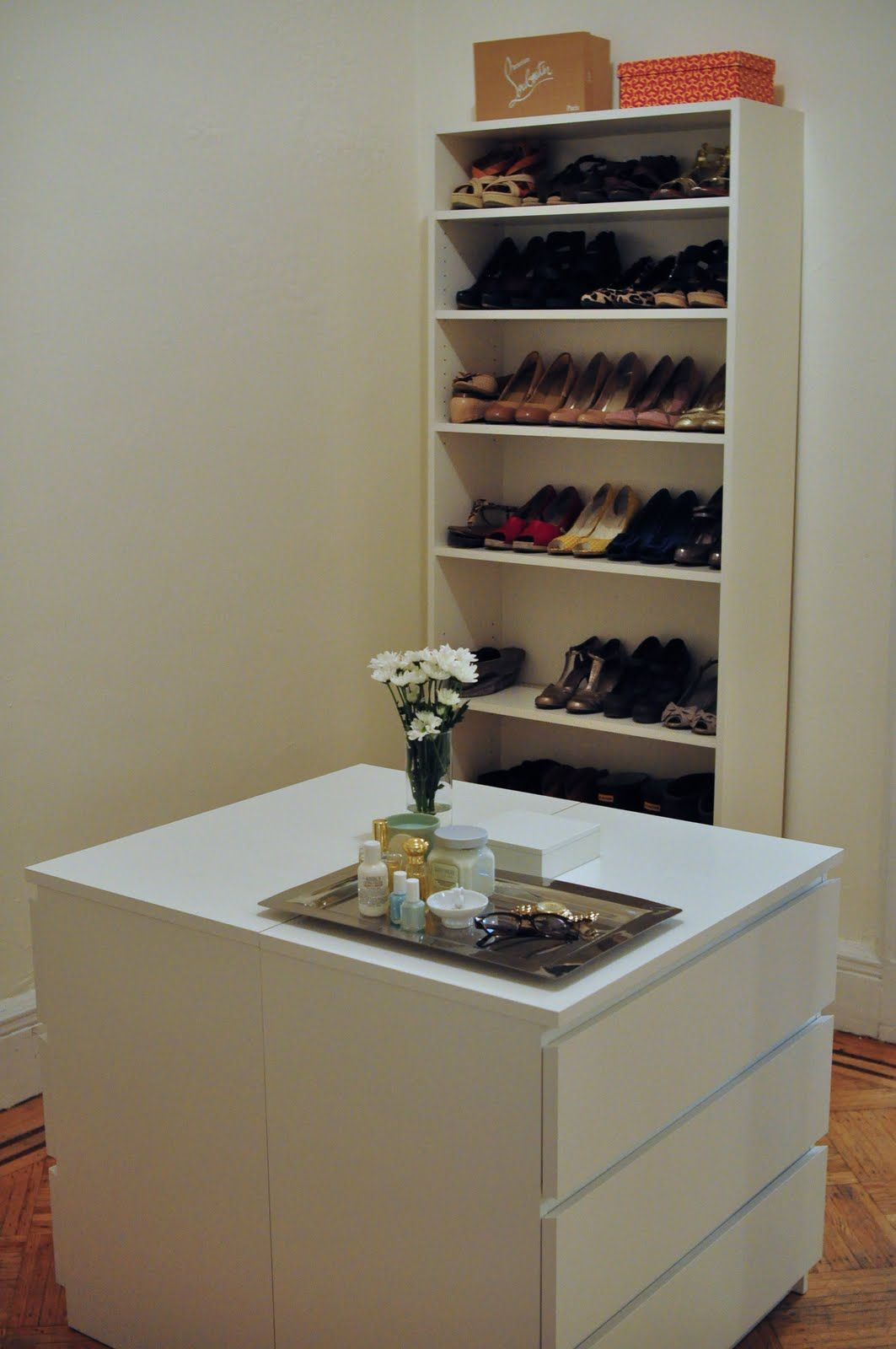 So simple two identical dressers back to back as closet island