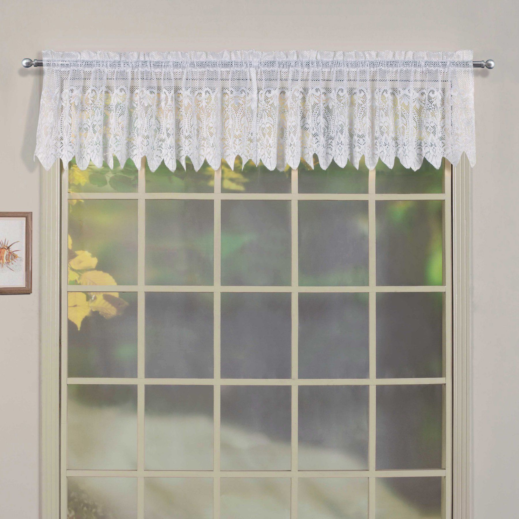 United Curtain Valerie Voile and Macrame Kitchen Valance VALVAWH