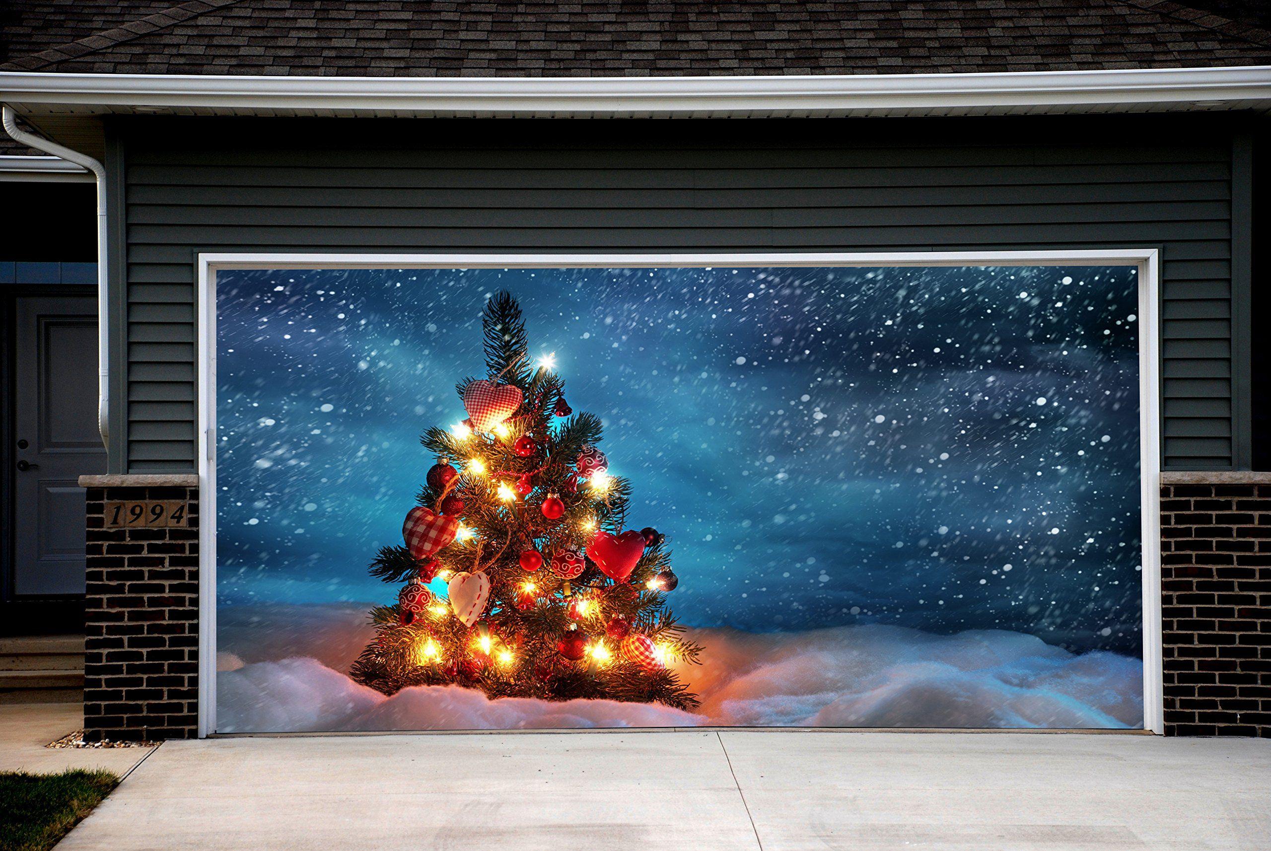 Garage Door Covers christmas tree garage door covers snowman 3d banners outside house