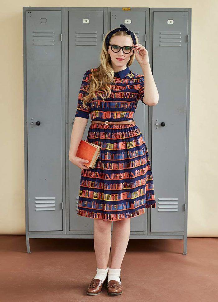 0334248e7040 Martha Library Book Print Dress   Vintage-style Shirt Dress   Joanie
