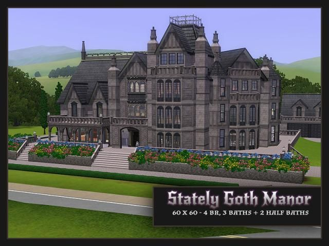Mod The Sims Stately Goth Manor Residential No Cc Sims House Sims 3 Mansion Sims 4 House Design