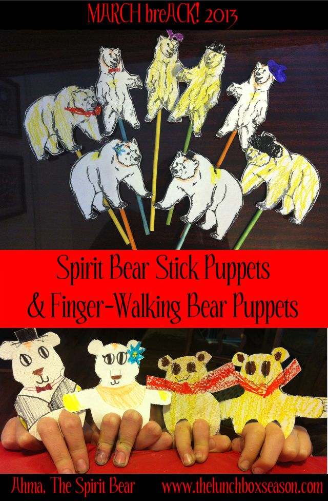 Spirit Bear Stick Puppets And Finger Walking With Free Printable Templates From The