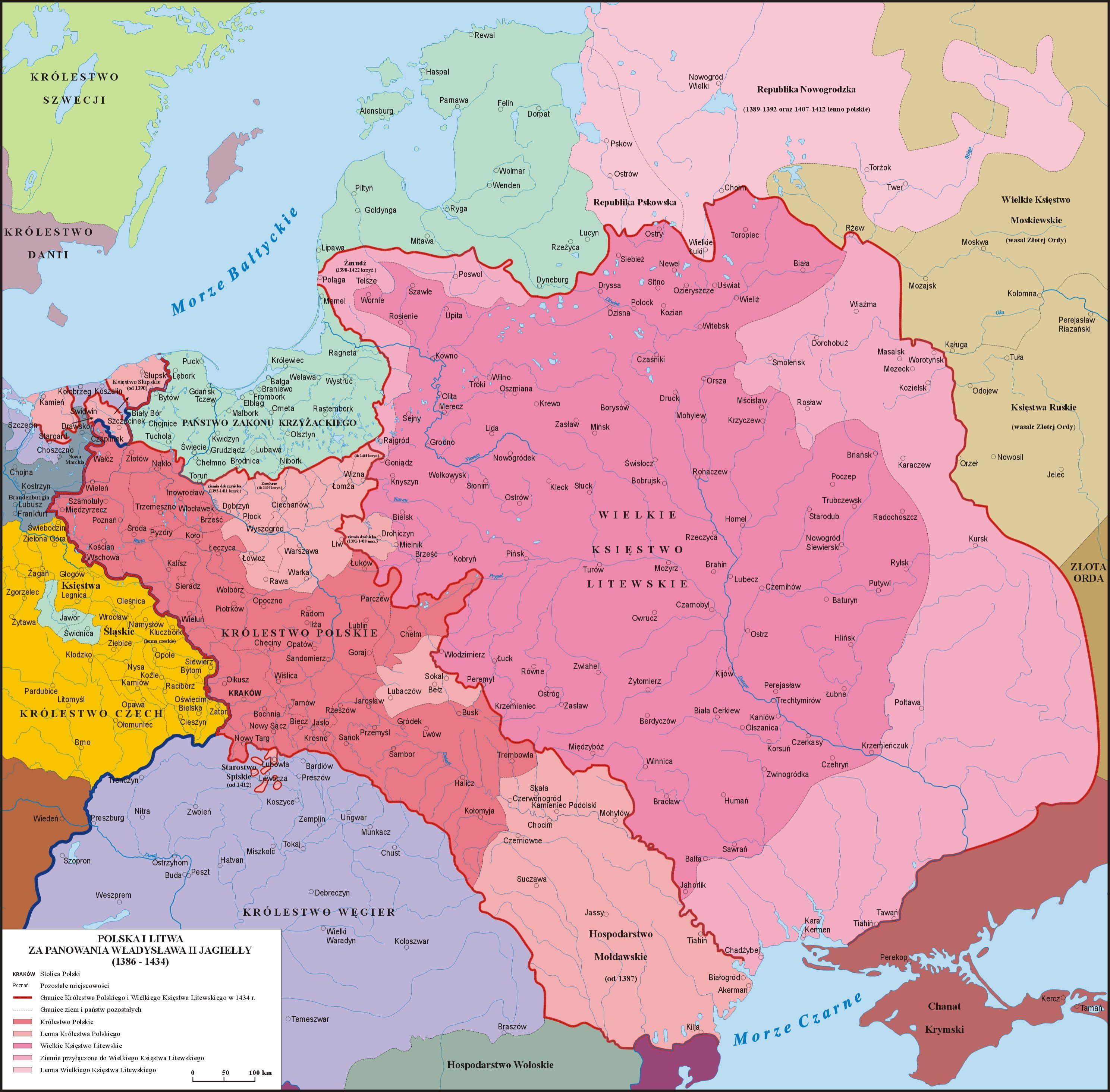 Jagiellonowie Wielka Dynastia Europy Mapa Polska Historia