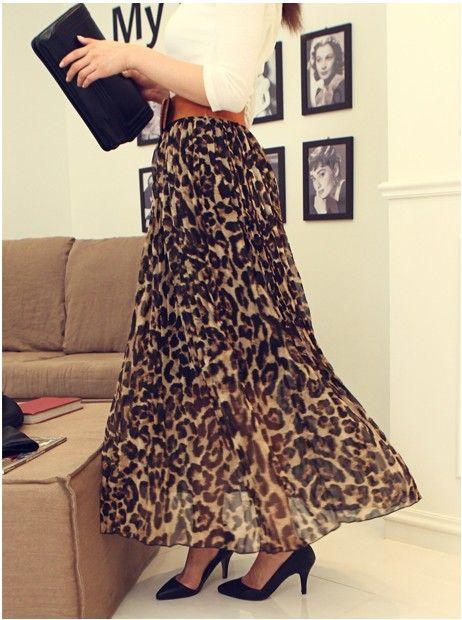Leopard Wrinkle Long Skirt | Hot Fashion Trends / Tendencias de ...