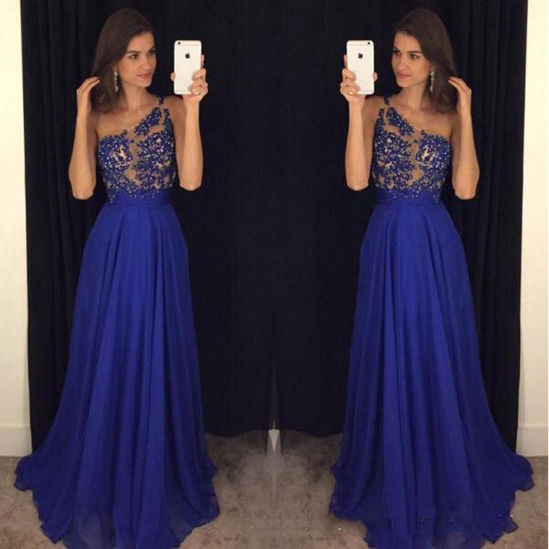 Schulter Abendkleider Royal Blue Chiffon Appliqued A-line Lang ...