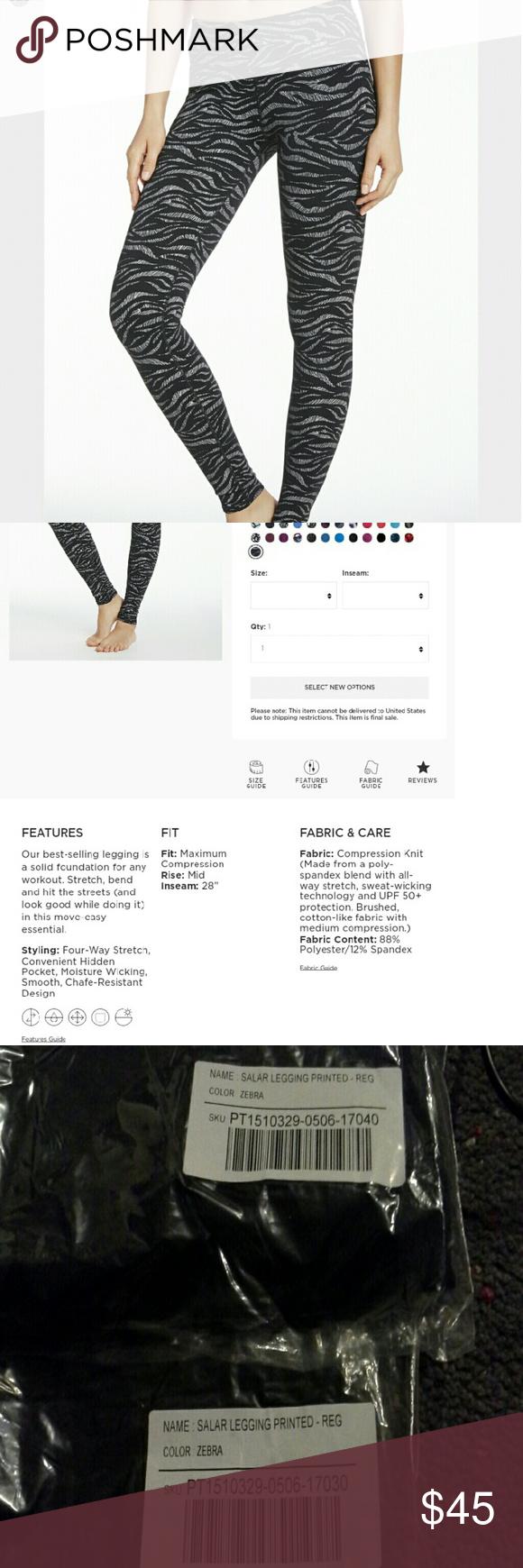 """[Fabletics] NWT Salar legging zebra print NWT leggings in bestselling Salar fit, fun zebra print. Regular inseam 28"""" Fabletics Pants Leggings"""