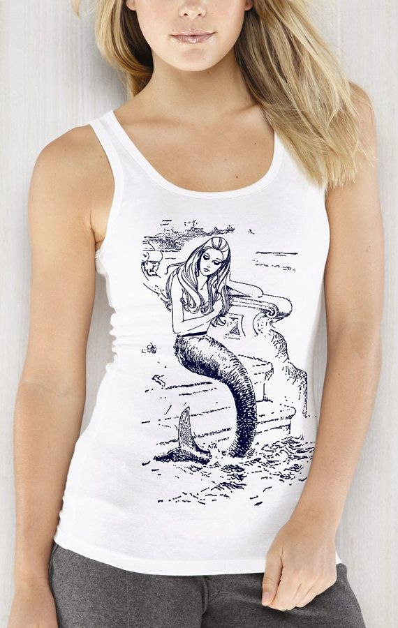 d00ae1f8 MERMAID shirt - vintage design navy print women's white tank top on Etsy,  $24.00