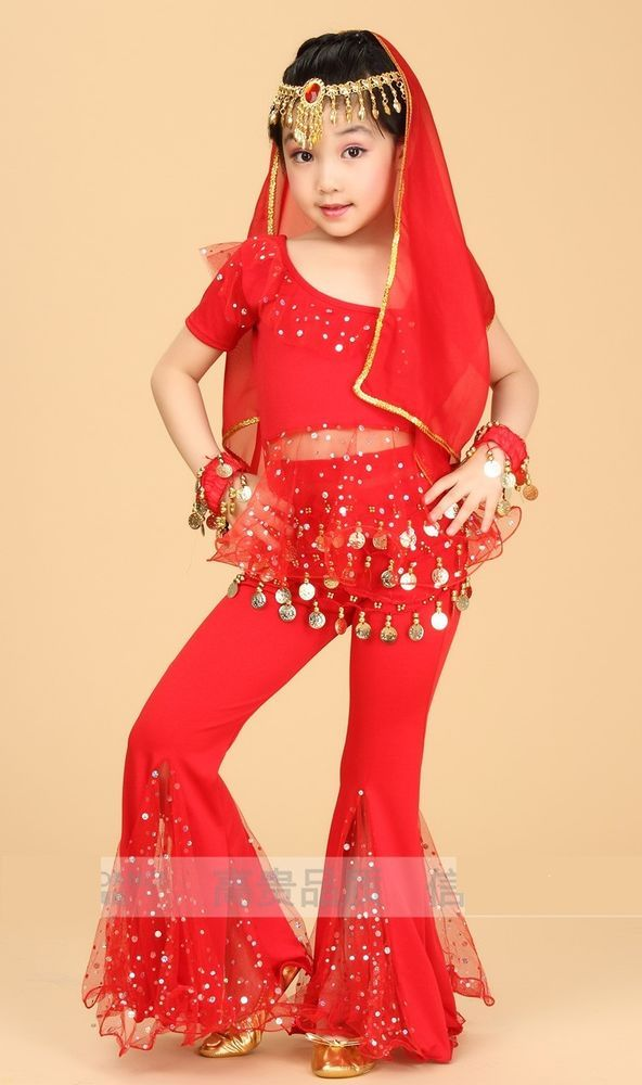2d32c9c77d Kids Girls Belly Dance Costume Bollywood Indian Dance Outfit Top Pants 2PCS  #Mimidance