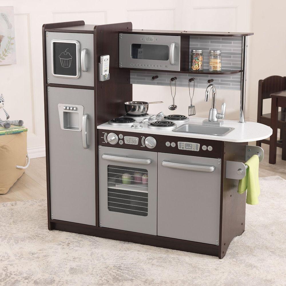 Kitchen Set Play Kids Espresso Wooden Kitchen Cooking Children Food Gift Playset #Kidkraft