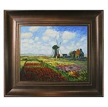 Hand-painted Oil Reproduction of Claude Monet's  Tulip Field with Rijnsburg Windmill.