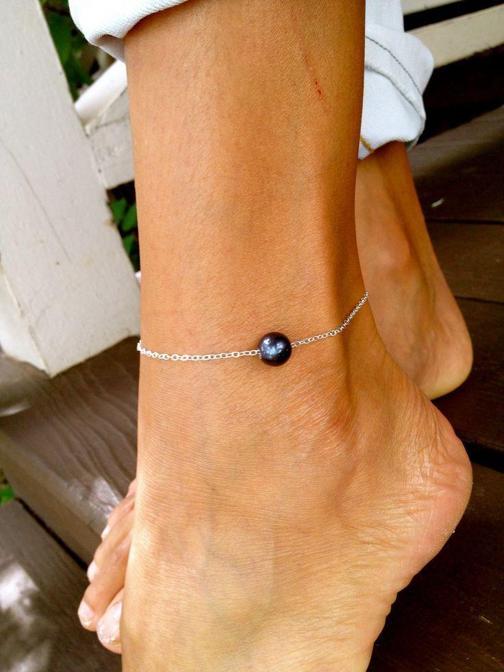 black pearl anklet by MishaHawaii #diyankletsblack