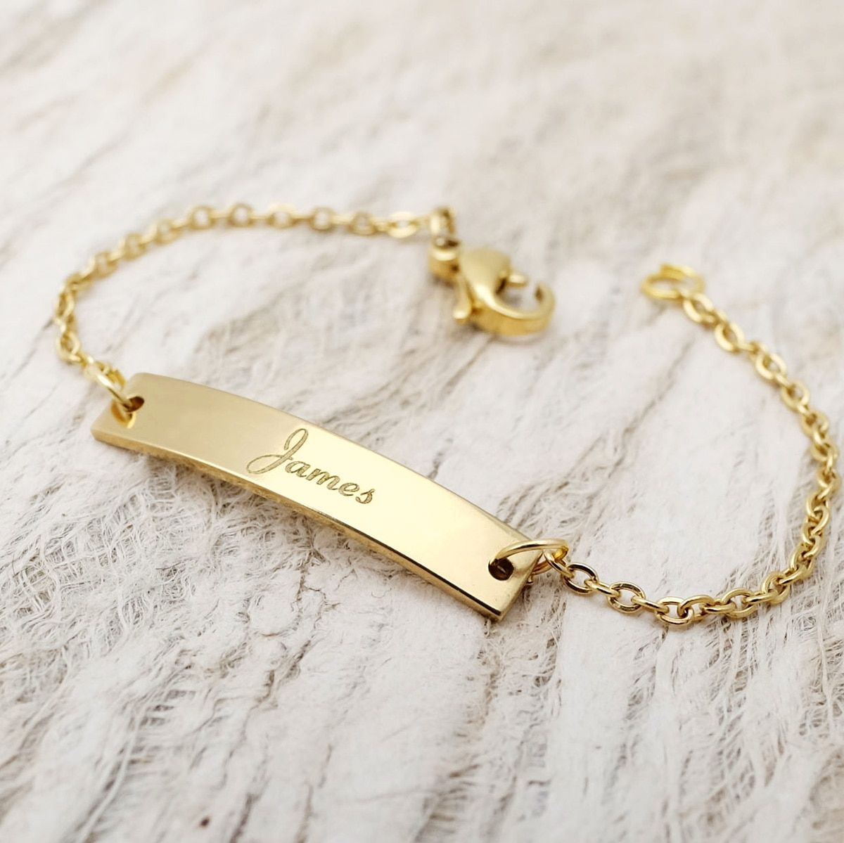 Gold Plated ID Bracelet Name Bracelet,Coordinates Bracelet Personalize Yellow Gold Plated Stainless Steel ID Bar Bracelet Gift for Dad