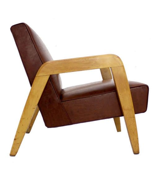Anonymous; Birch And Vinyl Armchair By Thonet, 1950s.