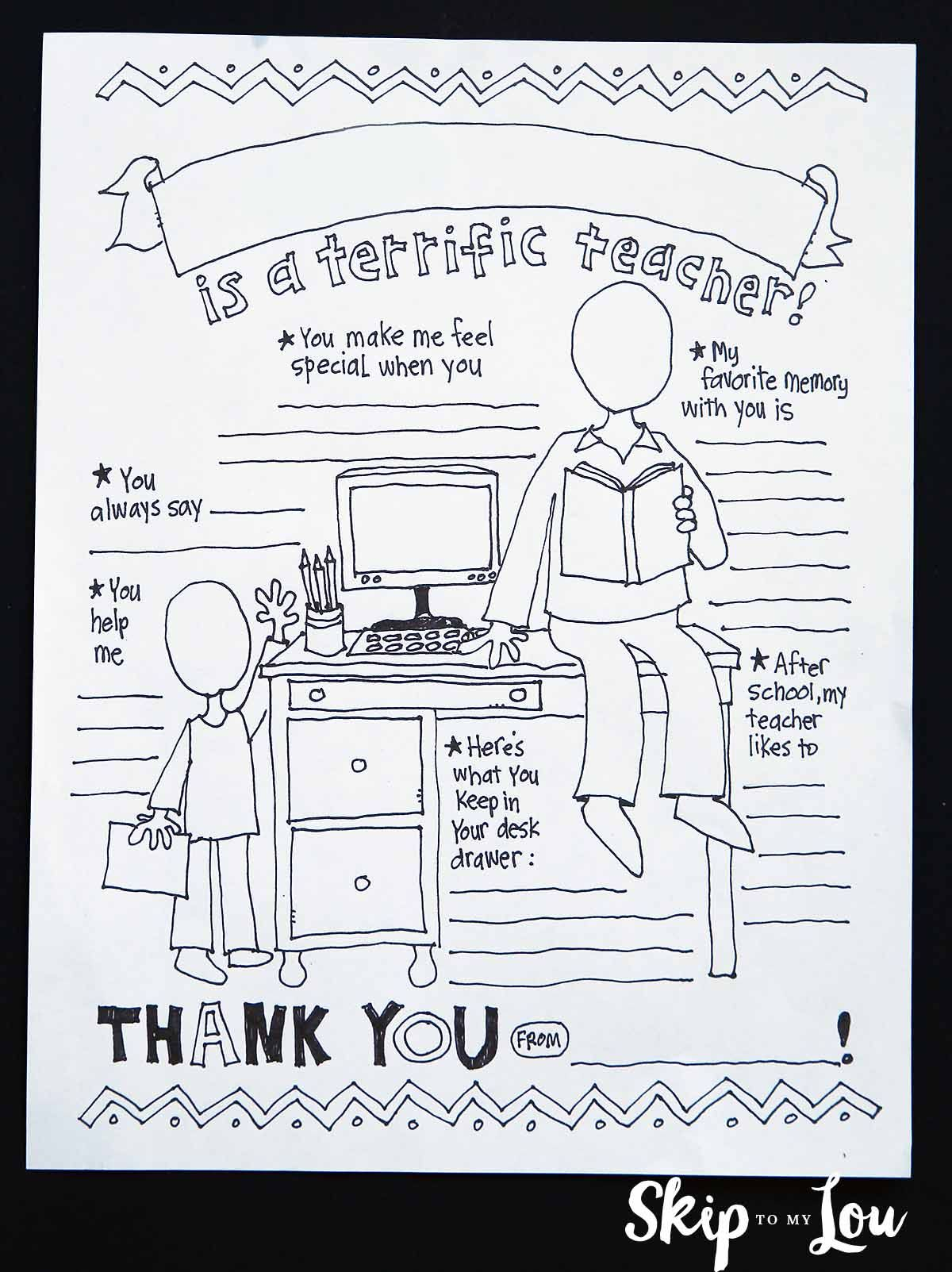 Teacher Coloring Sheet Best Teacher Gifts Teacher Appreciation
