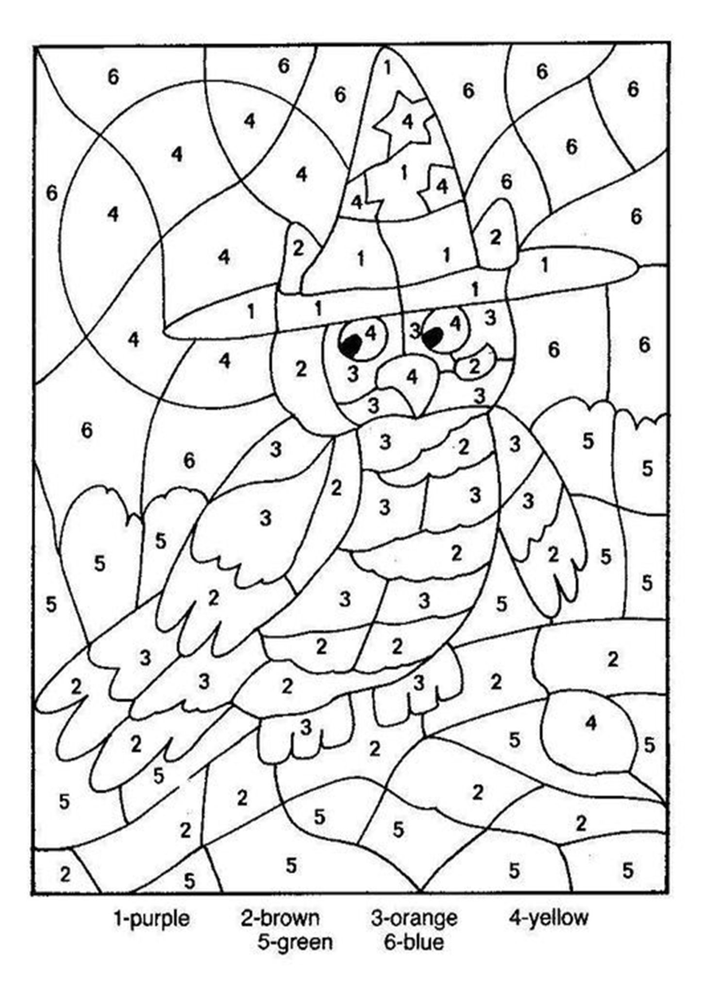 Free Printable Color By Number Worksheets For Kindergarten Owl Coloring Pages Halloween Coloring Halloween Coloring Pages
