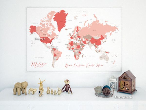Custom quote world map with countries us states canadian custom quote world map with countries us states canadian provinces oceans labeled color combo mushrooms and petals gumiabroncs Image collections