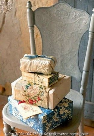 wrapping gifts in vintage papers, fabrics, ribbons