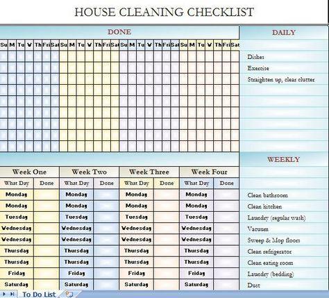 Checklist For House Cleaning Limpieza Casa Limpieza Organizacion